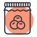 bottle, food, fruit, gourmet, jam, jar, sauce icon