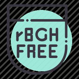 bovine, food, free, gmo, hormone, organic, rgbh icon