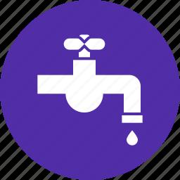 drop, faucet, pipe, plumbing, spigot, tap, water icon