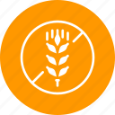 allergen, allergy, antigen, free, gluten, prohibited, wheat icon