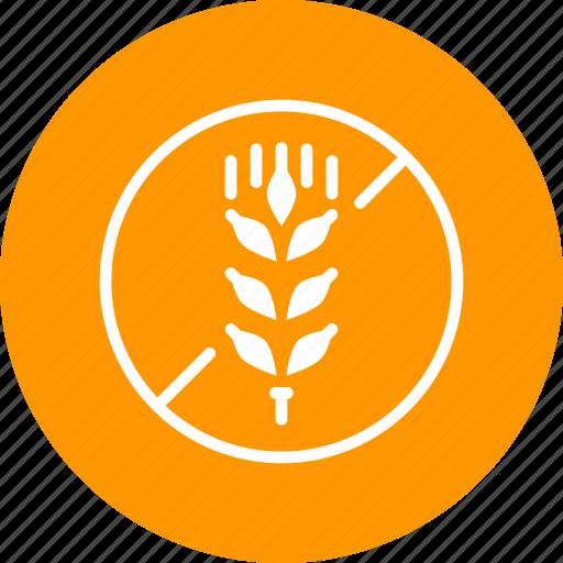 allergen, allergy, antigen, free, gluten, prohibited, wheat icon