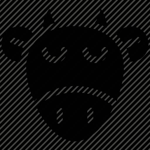 animal, bull face, cartoon, cow face, ox head icon