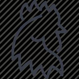 agricultural, agriculture, bird, chicken, cock, cock-a-doodle-doo icon