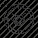 aim, business, deal, goal, handshake, partnership, target icon