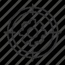 configuration, gear, goal, installation, settings, target, wheel icon