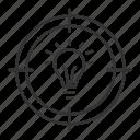 creativity, goal, idea, light bulb, search, target icon