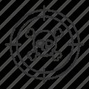 aim, bioweapon, chemical, danger, skull, target, toxic icon