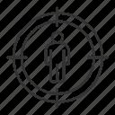 aim, hunt, male, man, search, staff, target icon