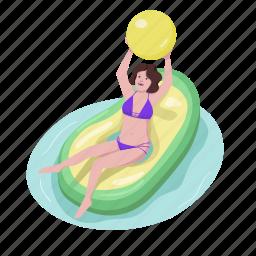 air mattress, inflatable, woman, avocado, play ball