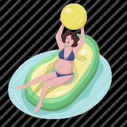 air mattress, inflatable, pregnant woman, avocado, ball