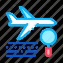 plane, concept, magnifier icon