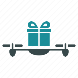 aircraft, drone, flying copter, gift, nanocopter, present, quadcopter icon