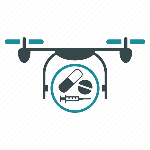 aircraft, drone, flying copter, medication, medicine, nanocopter, quadcopter icon