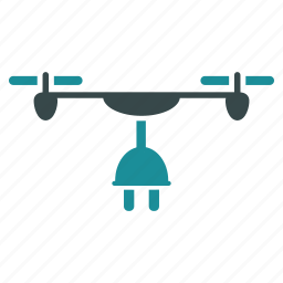 aircraft, charge, drone, flying copter, nanocopter, plug in, quadcopter icon