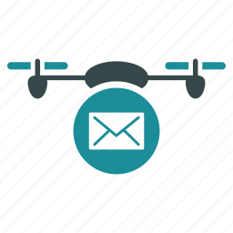 aircraft, drone, envelope, flying copter, mail, nanocopter, quadcopter icon