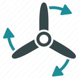 direction, drone, propeller, rotate, rotation, rotor, three bladed screw icon
