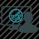 operator, radar, monitor, signal, user, drone control, location icon