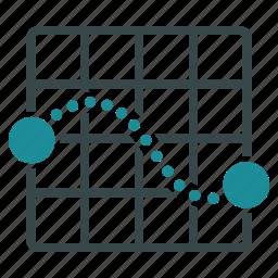 destination, direction, grid, map, navigation, plan, route icon