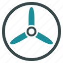 screw, propeller, rotor, three bladed screw, cooler, fan, turbine icon