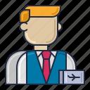 attendant, flight, male icon