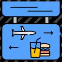 aeroplane navigation, air navigation, airplane navigation, food navigation, navigation board, plane signs icon