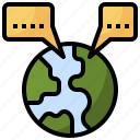 speech, bubble, communications, languages, world, chat icon