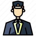 aviator, captain, job, male, pilot, transportation, uniform icon