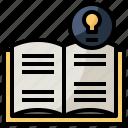 bulb, education, idea, light, read, reading, study icon