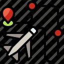 aeroplane, airplane, flight, location, maps, route, transportation