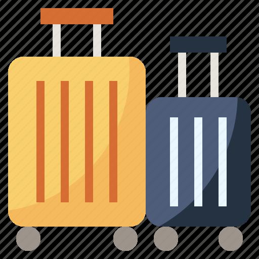 baggage, hotel, luggage, transport, travel, trolley, wheels icon