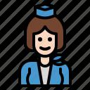air, cabin, crew, hostess, service icon