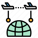 between, flight, plane, transfer, transit icon