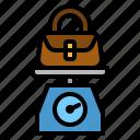airport, bag, handbag, luggage, scale icon