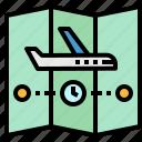 destination, map, plane, route, time icon