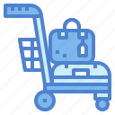 airport, bag, baggage, luggage, trolley