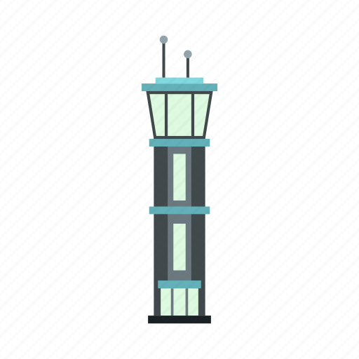 airport, aviation, building, control, flight, tower, travel icon