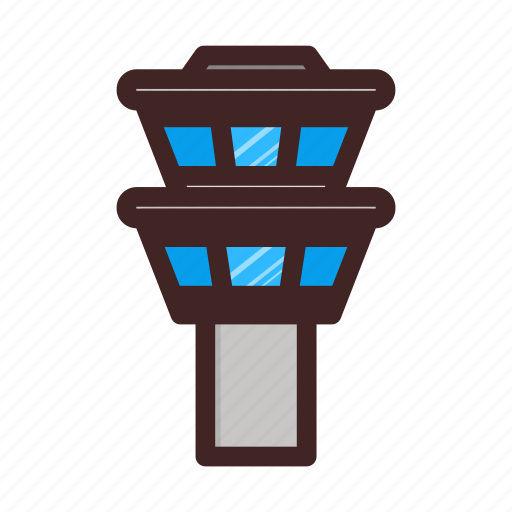 airport, architecture, building, plane, tower icon