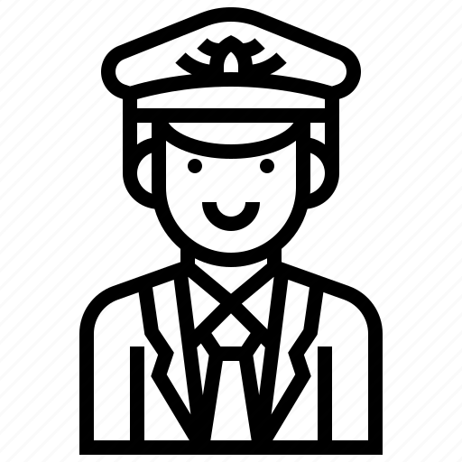 airline, airport, captain, man, people icon