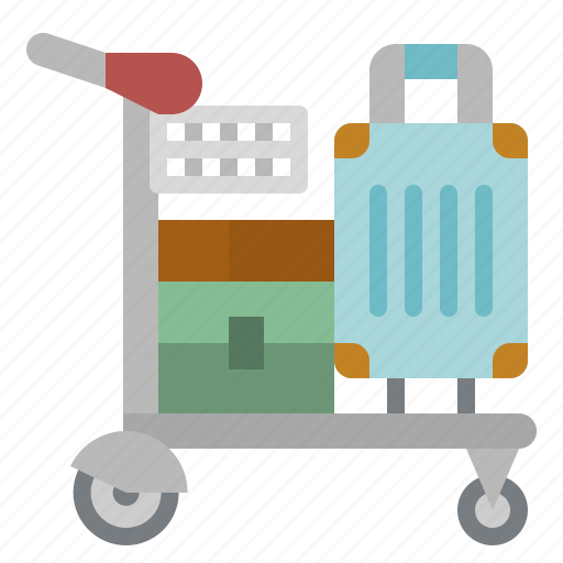 airport, bag, cart, luggage, transport icon