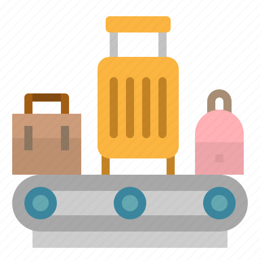 airport, bag, belt, conveyor, luggage icon