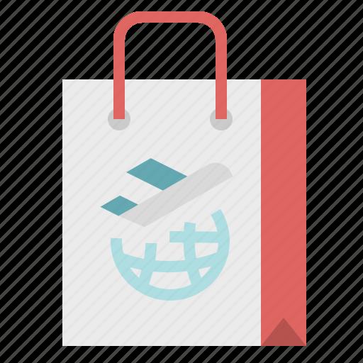 aeroplane, airplane, airport, bag, shopping icon
