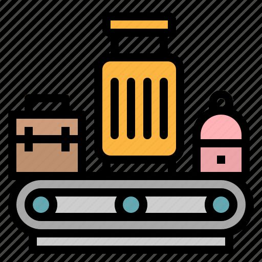 airport, bag, belt, conveyor, luggage icon
