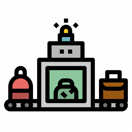 airport, baggage, luggage, scanner, security icon