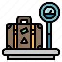 baggage, luggage, measure, measuring, weighting icon