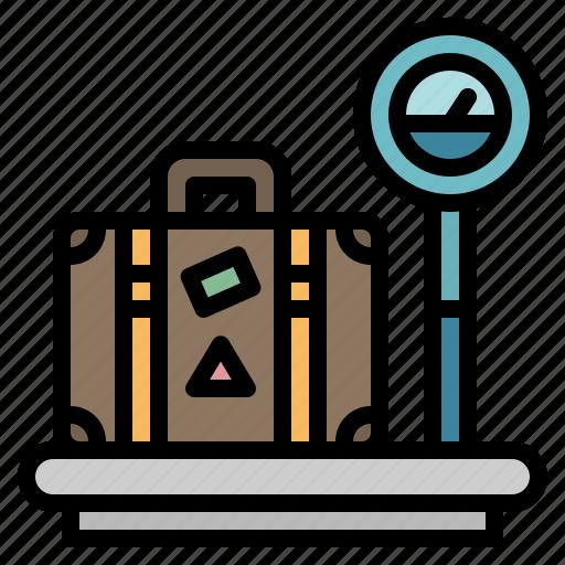 baggage, luggage, measure, measuring, weighting icon