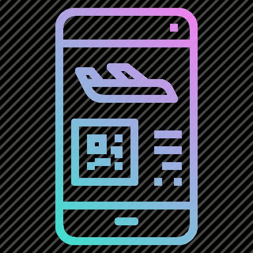 code, phone, plane, qr, smartphone, ticket icon