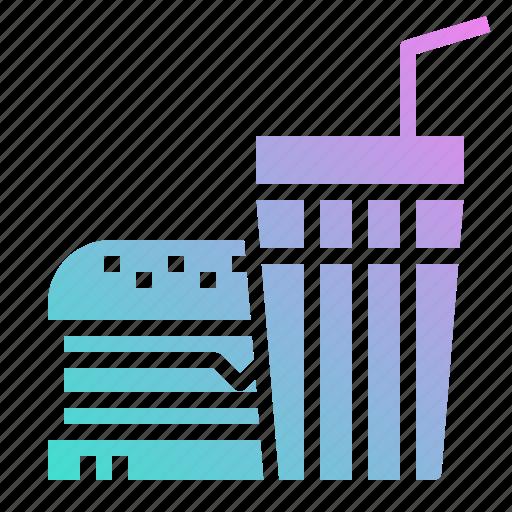 burger, drink, fast, food, restaurant icon
