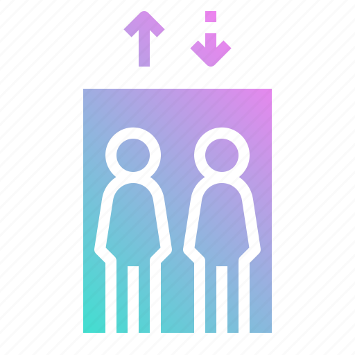 arrow, down, elevator, lift, person, up icon