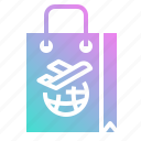 aeroplane, airplane, airport, bag, shopping icon