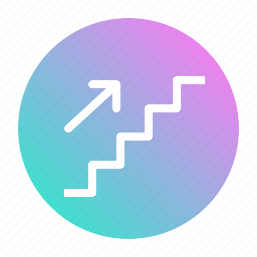 arrow, sign, stairs, steps, up icon